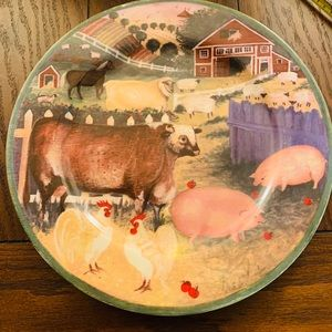 Rare Vintage Block Country Farm By Gear Platter